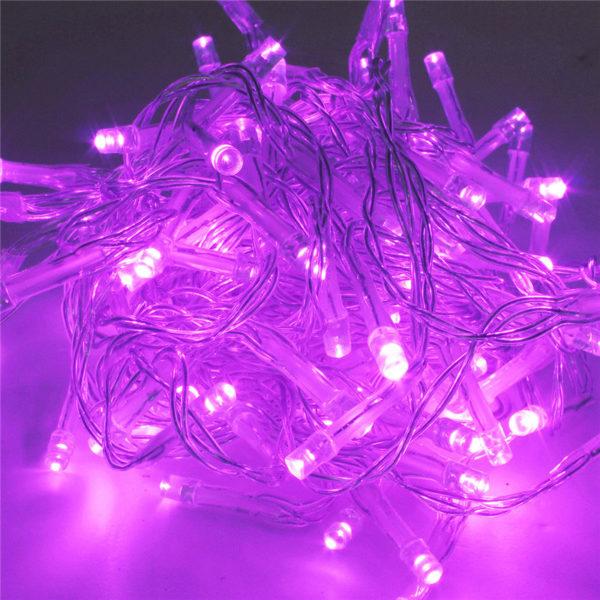 Гирлянда розовая 100 LED, розовый  провод